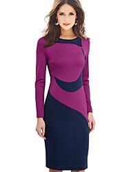 abordables -Femme Grandes Tailles Travail Mi-long Moulante Robe Bloc de Couleur Automne Hiver Violet Rouge XL XXL XXXL Coton Manches Longues