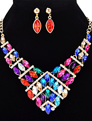 cheap -Women's Crystal Jewelry Set Geometrical Ladies Fashion Crystal Earrings Jewelry Rainbow / Red / Blue For Formal Club