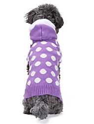 cheap -Cat Dog Coat Sweater Hoodie Winter Dog Clothes Purple Costume Spandex Linen&Cotton Blend Chinlon Polka Dot Casual / Daily Keep Warm New Year's XXS XS S M L XL
