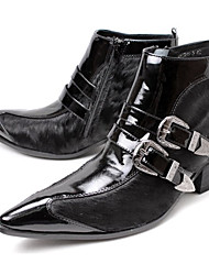 cheap -Men's Combat Boots Leather / Horse Hair Fall / Winter British Boots Booties / Ankle Boots Black / Wedding / Party & Evening / Party & Evening