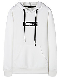 cheap -Men's Casual Long Sleeve Loose Long Hoodie - Solid Colored / Letter Stylish Hooded White XXL / Fall / Winter