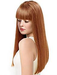 cheap -Human Hair Wig Long kinky Straight kinky straight Natural Hairline Machine Made Women's Black#1B Medium Auburn Beige Blonde / Bleached Blonde 24 inch