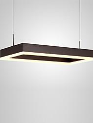 Недорогие -северная Европа современная светодиодная подвеска свет 32w прямоугольник металлическая гостиная столовая спальня люстра