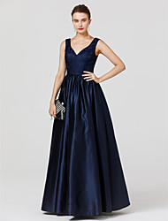 cheap -Ball Gown V Neck Floor Length Lace / Satin Minimalist Cocktail Party / Prom / Formal Evening Dress 2020 with Pleats