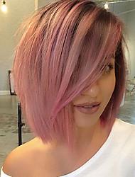 abordables -Perruque Lace Front Synthétique Yaki Crépu Avec Mèches Avant Lace Frontale Perruque Rose Court Noir / Rose Cheveux Synthétiques Femme Rose EEWigs
