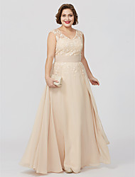 cheap -A-Line V Neck Floor Length Chiffon / Sheer Lace Sleeveless Plus Size / Elegant Mother of the Bride Dress with Appliques / Sash / Ribbon 2020