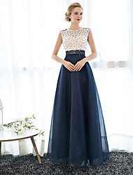 cheap -A-Line Illusion Neck Floor Length Tulle Over Lace Beautiful Back / Elegant / Beaded & Sequin Prom / Formal Evening Dress with Beading 2020