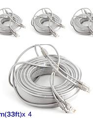 cheap -Cables 4PCS 33ft CCTV RJ45 Video Cable DC Power Extension for Security Systems 1000cm 1.23kg