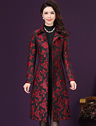 cheap -Women's Going out Sophisticated Fall / Winter Plus Size Maxi Trench Coat, Floral Long Sleeve Polyester Print Red