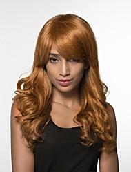 Недорогие -Человеческие волосы Парик Длинные Волнистый Волнистый Боковая часть Машинное плетение Жен. Черный Мед блондинку Medium Auburn
