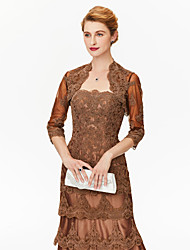 cheap -3/4 Length Sleeve Lace / Tulle Wedding / Party / Evening Women's Wrap With Appliques / Lace Shrugs