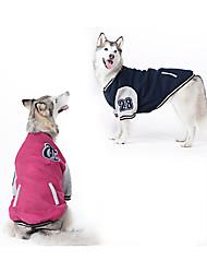 cheap -Dog Sweatshirt Baseball Winter Dog Clothes Red Dark Blue Costume Large Dog Cotton Color Block Sports Fashion XXXXL XXXXXL XXXXXXL