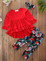 Недорогие -Дети (1-4 лет) Девочки Активный Уличный стиль Однотонный Цветочный принт Геометрический принт Длинный рукав Длинный Длинная Хлопок Набор одежды Красный