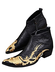 cheap -Men's Cowboy / Western Boots Fall / Winter Vintage / Chinoiserie Wedding Party & Evening Boots Walking Shoes Nappa Leather Height-increasing Booties / Ankle Boots Black