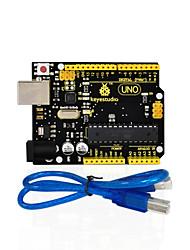 cheap -1Pcs Keyestudio UNO R3 Board(Original Chip) 1Pcs USB CableManual 100% Compatible for Arduino Uno R3