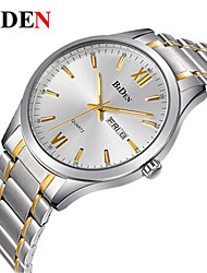 cheap -BIDEN Men's Wrist Watch Quartz Stainless Steel Silver / Gold Calendar / date / day Casual Watch Analog Casual Fashion Elegant - Gold / Silver Black / Silver White / Silver