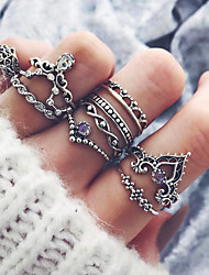 cheap -Women's Knuckle Ring Pinky Ring 10pcs Silver Alloy Ladies Asian Vintage Party Daily Jewelry