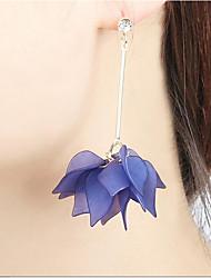 cheap -Women's Drop Earrings Hoop Earrings Tassel Chandelier Long Floral / Botanicals Leaf Flower Statement Ladies Earrings Jewelry Yellow / Blue / Pink For Casual Going out