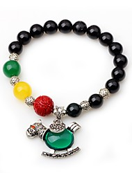 cheap -Women's Onyx Bead Bracelet Animal Healing Agate Bracelet Jewelry Black For Gift Going out