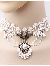 cheap -Women's Choker Necklace Flower Ladies Simple Fashion Imitation Pearl Cloth Alloy White Necklace Jewelry One-piece Suit For Daily Cosplay Costumes