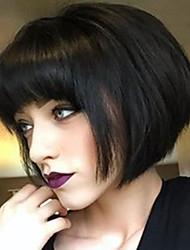 cheap -Human Hair Wig Medium Length Straight Bob Straight Natural Hairline Machine Made Women's Black#1B Medium Auburn Beige Blonde / Bleached Blonde 12 inch