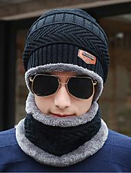 Недорогие -Муж. Для офиса Широкополая шляпа-Трикотаж Вязанная,Однотонный Зима Черный Серый