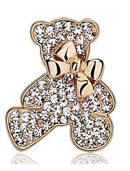 Недорогие -Жен. Синтетический алмаз Броши Медведи Дамы Милая Искусственный бриллиант Брошь Бижутерия Золотой Назначение Повседневные