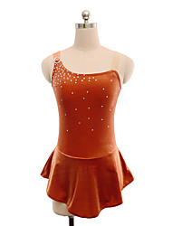 cheap -Figure Skating Dress Women's Girls' Ice Skating Dress Brown Spandex Inelastic Training Competition Skating Wear Solid Colored Sleeveless Ice Skating Figure Skating