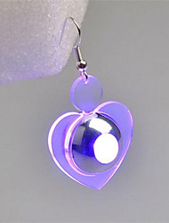 cheap -Women's Drop Earrings Heart Fashion Luminous Earrings Jewelry Purple / Green For Street Going out One-piece Suit