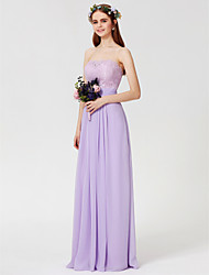 cheap -Sheath / Column Strapless Floor Length Chiffon / Lace Bodice Bridesmaid Dress with Lace / Sash / Ribbon / Ruched