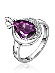 cheap -Women's Band Ring Synthetic Amethyst Cubic Zirconia High End Crystal One-piece Suit Purple Zircon Gold Plated Silver Geometric Vintage Basic Fashion Wedding Engagement Jewelry Drop