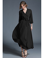 cheap -Women's Maxi Black Dress Boho Fall Going out Casual / Daily Swing Solid Colored V Neck S M