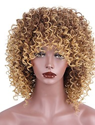 cheap -Synthetic Wig Kinky Curly Kinky Curly With Bangs Wig Short Strawberry Blonde / Medium Auburn Synthetic Hair Women's African American Wig Brown