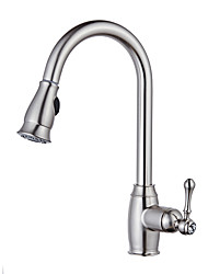 cheap -Kitchen faucet - Single Handle One Hole Nickel Brushed Pull-out / Pull-down / Tall / High Arc Vessel Contemporary Kitchen Taps / Brass