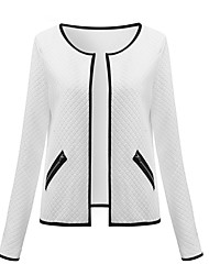 cheap -Women's Holiday / Casual / Daily Street chic Spring / Fall Short Jacket, Solid Colored Stand Long Sleeve Polyester Black / White / Gray