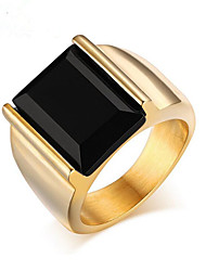 cheap -Band Ring Agate Solitaire Golden Stainless Steel Agate Gold Plated Personalized Fashion 7 8 9 10 11 / Men's