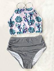 cheap -Women's Boho Halter Neck Navy Blue Light Blue Wrap High Waist Bikini Swimwear - Floral Print M L XL Navy Blue
