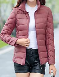 Недорогие -Пальто На каждый день Короткая На подкладке Для женщин,Однотонный На выход Хлопок Длинные рукава