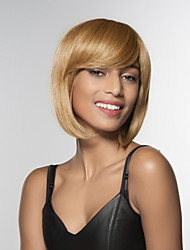 cheap -Human Hair Wig Medium Length Straight Straight Side Part Machine Made Women's Black#1B Medium Auburn Beige Blonde / Bleached Blonde 12 inch