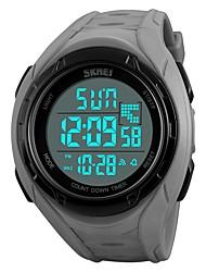 Недорогие -SKMEI Муж. Спортивные часы Армейские часы электронные часы Кварцевый Стеганная ПУ кожа Черный / Серый / Небесно-голубой 50 m Защита от влаги Календарь Секундомер Цифровой На каждый день Мода -