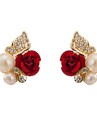cheap -Women's Stud Earrings Flower Ladies Imitation Pearl Imitation Diamond Earrings Jewelry Red For Daily Going out