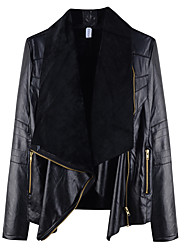 cheap -Women's Solid Colored Basic Fall Shawl Lapel Faux Leather Jacket Short Daily Long Sleeve Polyester Coat Tops Black