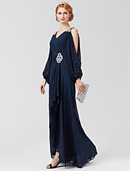 cheap -A-Line V Neck Asymmetrical Chiffon 3/4 Length Sleeve High Low Mother of the Bride Dress with Sash / Ribbon / Pleats / Beading 2020 / Illusion Sleeve
