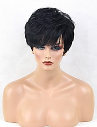 cheap -Human Hair Capless Wigs Human Hair Curly / Natural Wave Pixie Cut / Short Hairstyles 2019 Halle Berry Hairstyles Side Part Short Machine Made Wig Women's