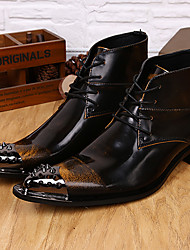 cheap -Men's Bootie Nappa Leather Fall / Winter Boots Booties / Ankle Boots Brown / Party & Evening / Party & Evening / Combat Boots