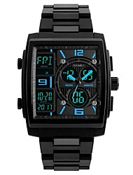 cheap -SKMEI Men's Sport Watch Wrist Watch Quartz 50 m Water Resistant / Water Proof Calendar / date / day Three Time Zones PU Band Analog-Digital Luxury Casual Fashion Black / Clover - Yellow Red Blue
