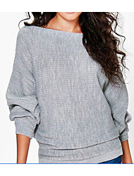 cheap -Women's Going out Solid Colored Long Sleeve Long Shrug Sweater Jumper, Boat Neck Fall Black / White / Red S / M / L
