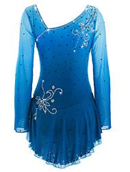 cheap -Figure Skating Dress Women's Girls' Ice Skating Dress Azure Spandex High Elasticity Competition Skating Wear Handmade Ice Skating Figure Skating