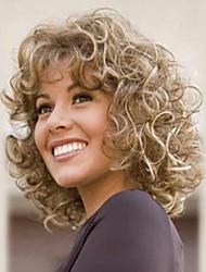 cheap -Human Hair Capless Wigs Human Hair Curly / Wavy Short Hairstyles 2019 Halle Berry Hairstyles Highlighted / Balayage Hair Medium Length Machine Made Wig Women's