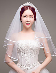 cheap -Two-tier Wedding / Imitation Pearl / Bridal Wedding Veil Fingertip Veils with Ribbon Tie Tulle / Classic